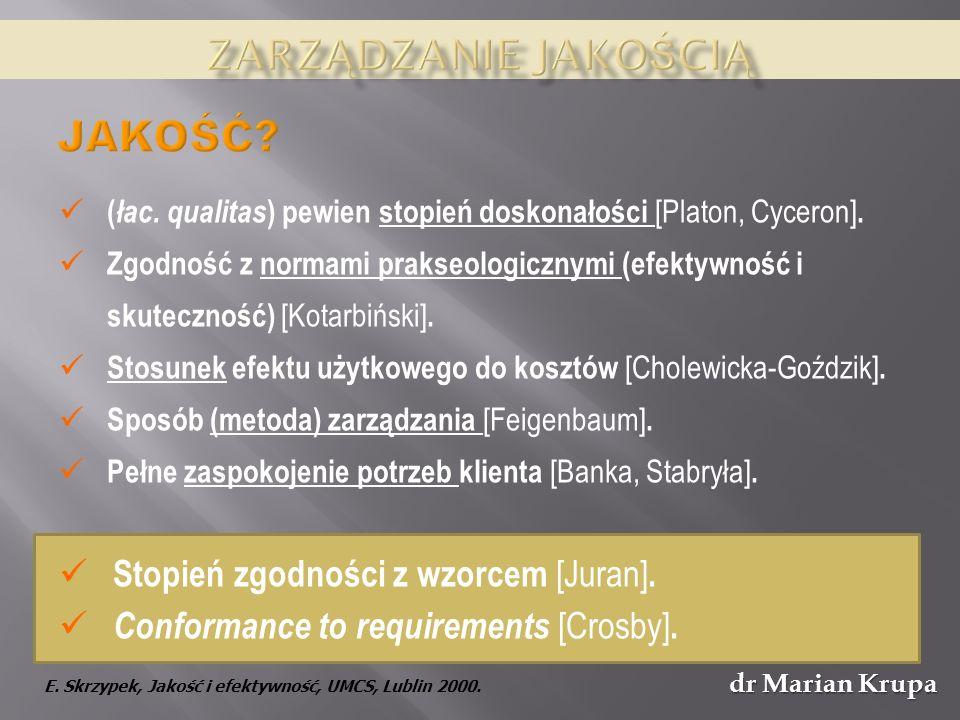 dr Marian Krupa Jakość nie jest dziełem przypadku – wymaga racjonalnego zdefiniowania celów i konsekwentnego działania w zakresie zapewnienia wymaganych standardów jakościowych – zarządzania jakością (polityka jakości); Jakość stanowi fundamentalny wyznacznik konkurencyjności i wzrostu wartości przedsiębiorstwa / organizacji – postulat ekonomiczny.