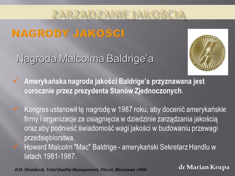 dr Marian Krupa Amerykańska nagroda jakości Baldrigea przyznawana jest corocznie przez prezydenta Stanów Zjednoczonych.