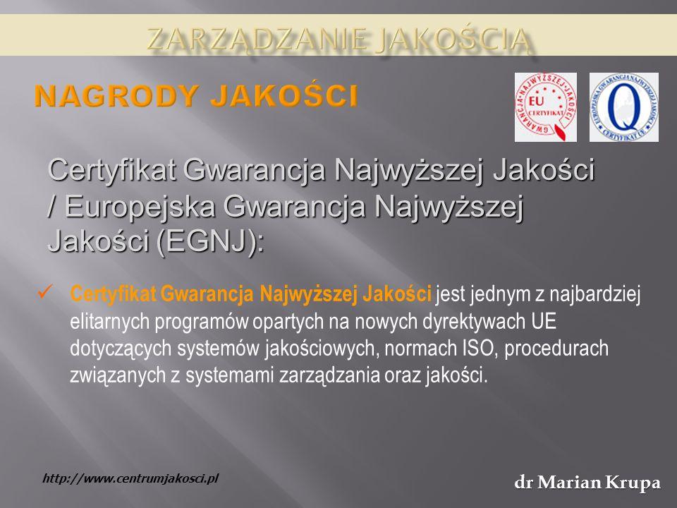 dr Marian Krupa Certyfikat Gwarancja Najwyższej Jakości jest jednym z najbardziej elitarnych programów opartych na nowych dyrektywach UE dotyczących systemów jakościowych, normach ISO, procedurach związanych z systemami zarządzania oraz jakości.