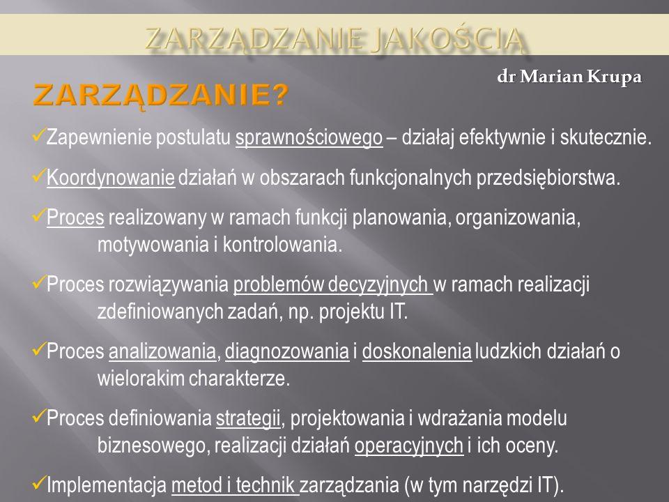 dr Marian Krupa Zarządzanie jakością to pewien stan świadomości polegający na tym, że zmiany wprowadzane w przedsiębiorstwie mają służyć nie tylko wzrostowi produktywności, ale także, a może, przede wszystkim doskonaleniu jakości [Hamrol].