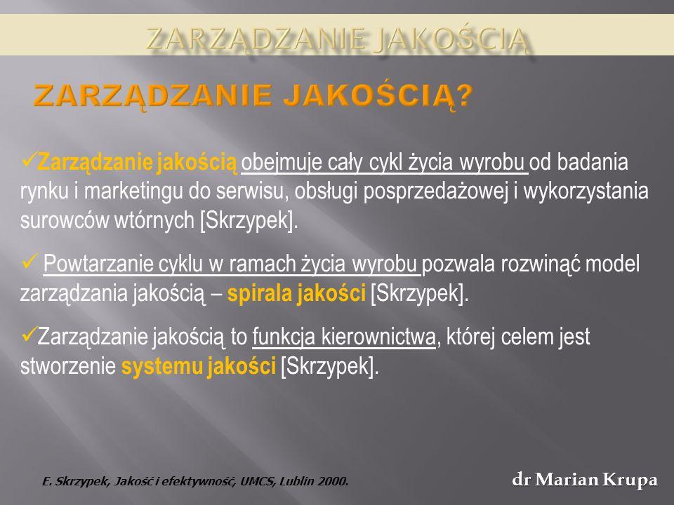 dr Marian Krupa Spostrzegania jakości z perspektywy etycznej – jakość dobrem wspólnym: Jan Paweł II, Encyklika Centesimus annus, 36.