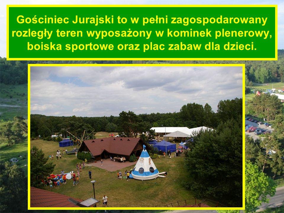 Gościniec Jurajski to w pełni zagospodarowany rozległy teren wyposażony w kominek plenerowy, boiska sportowe oraz plac zabaw dla dzieci.
