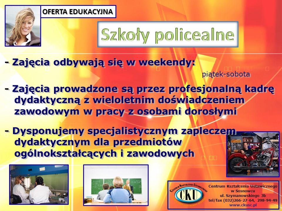 Centrum Kształcenia Ustawicznego w Sosnowcu ul. Szymanowskiego 3b tel/fax (032)266-27-64, 298-94-49 www.ckusc.pl - Zajęcia odbywają się w weekendy: pi