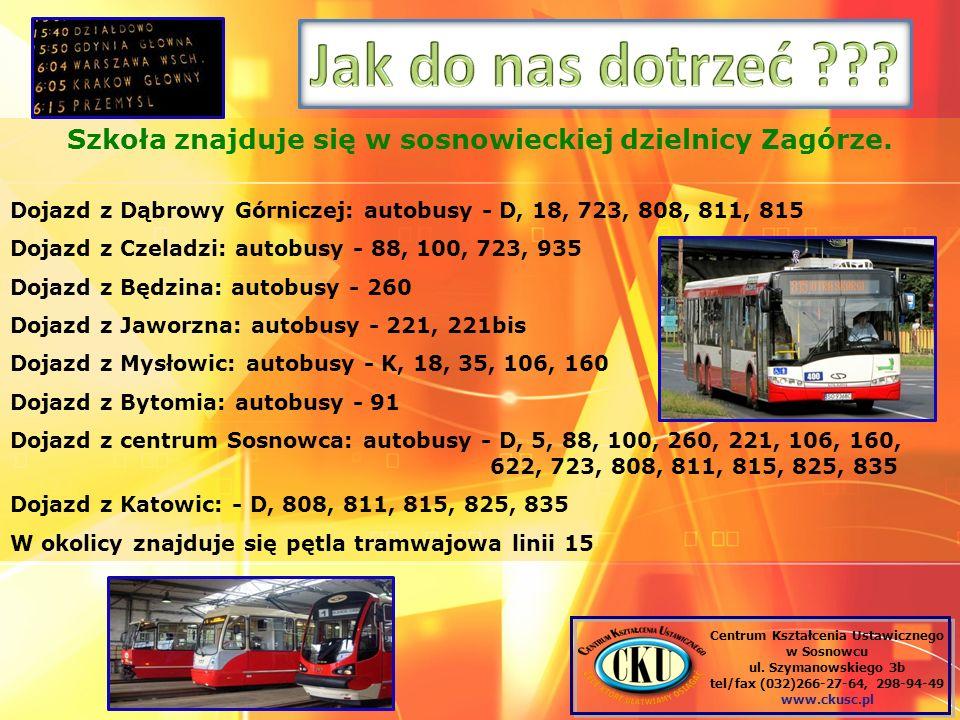Szkoła znajduje się w sosnowieckiej dzielnicy Zagórze. Dojazd z Dąbrowy Górniczej: autobusy - D, 18, 723, 808, 811, 815 Dojazd z Czeladzi: autobusy -