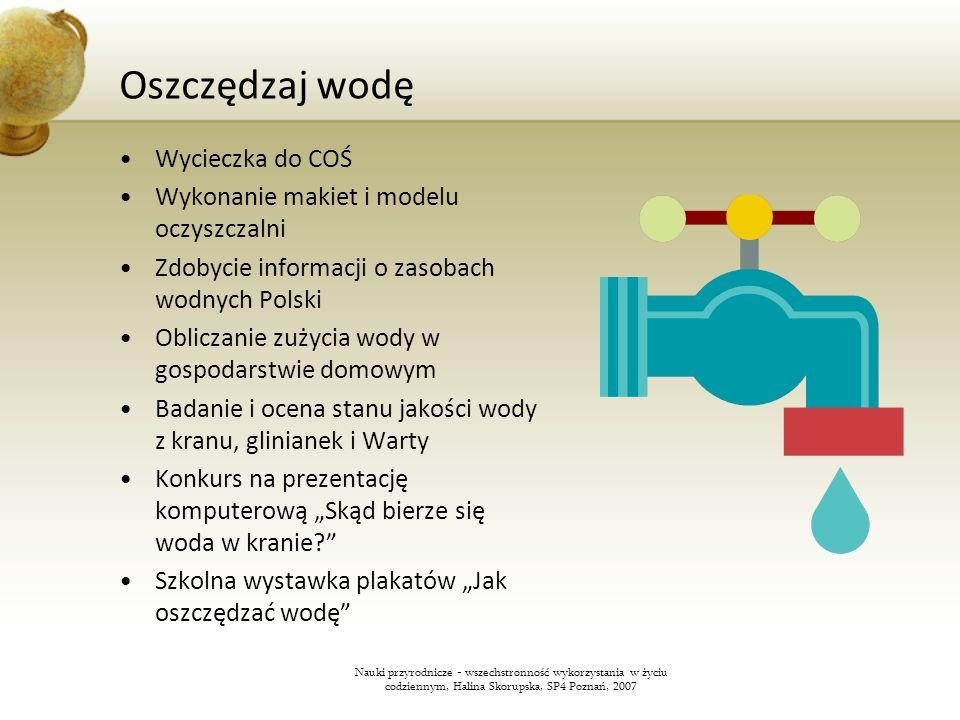 Oszczędzaj wodę Wycieczka do COŚ Wykonanie makiet i modelu oczyszczalni Zdobycie informacji o zasobach wodnych Polski Obliczanie zużycia wody w gospod
