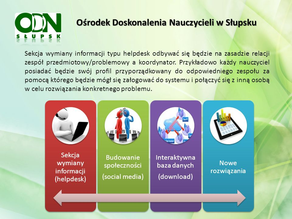 Ośrodek Doskonalenia Nauczycieli w Słupsku Operatorem systemu będzie Ośrodek Doskonalenia Nauczycieli w Słupsku pełniący rolę koordynacyjną i administracyjną.