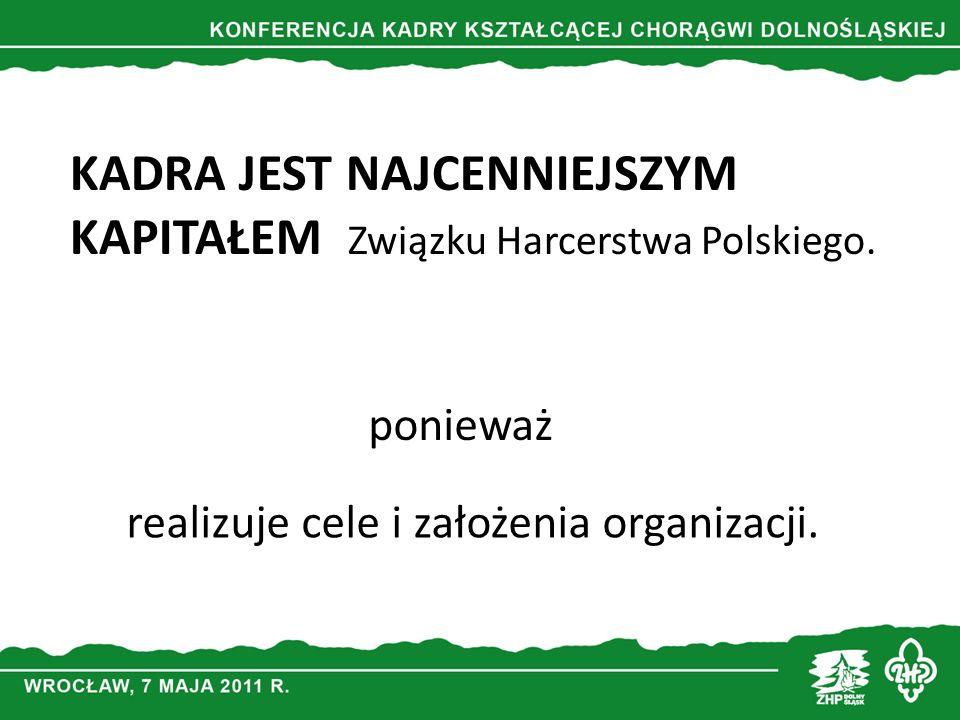 KADRA JEST NAJCENNIEJSZYM KAPITAŁEM Związku Harcerstwa Polskiego. ponieważ realizuje cele i założenia organizacji.