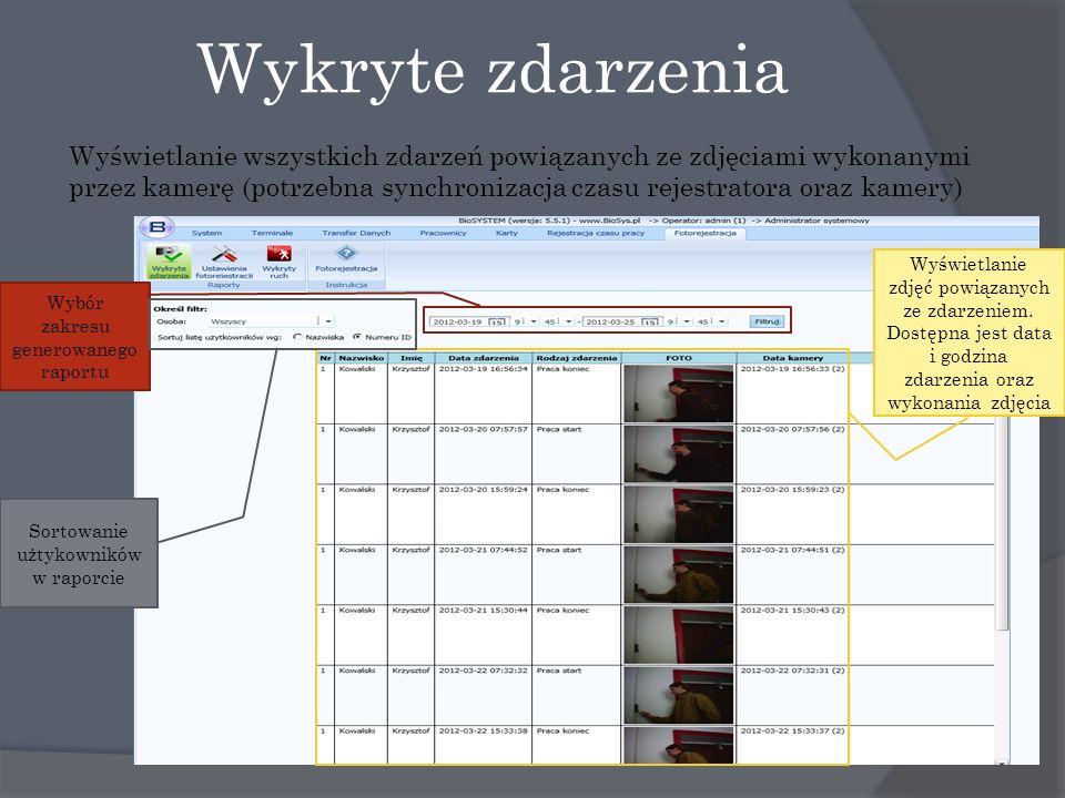 Wykryte zdarzenia Wyświetlanie wszystkich zdarzeń powiązanych ze zdjęciami wykonanymi przez kamerę (potrzebna synchronizacja czasu rejestratora oraz kamery) Wyświetlanie zdjęć powiązanych ze zdarzeniem.
