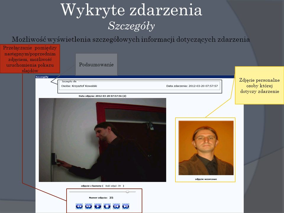 Wykryte zdarzenia Szczegóły Możliwość wyświetlenia szczegółowych informacji dotyczących zdarzenia Zdjęcie personalne osoby której dotyczy zdarzenie Przełączanie pomiędzy następnym/poprzednim zdjęciem, możliwość uruchomienia pokazu slajdów Podsumowanie