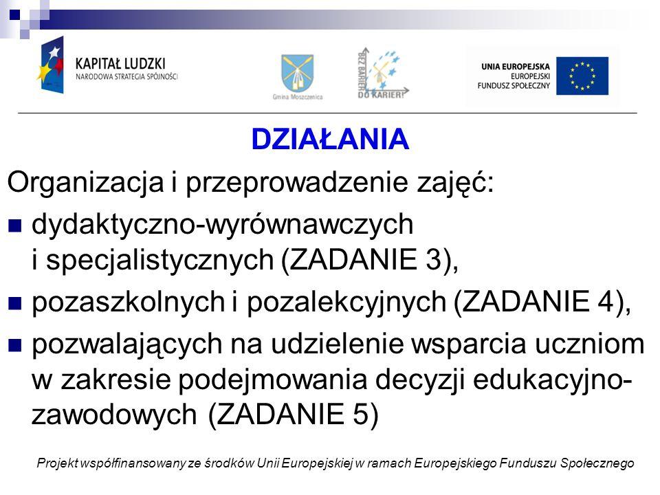 DZIAŁANIA Organizacja i przeprowadzenie zajęć: dydaktyczno-wyrównawczych i specjalistycznych (ZADANIE 3), pozaszkolnych i pozalekcyjnych (ZADANIE 4), pozwalających na udzielenie wsparcia uczniom w zakresie podejmowania decyzji edukacyjno- zawodowych (ZADANIE 5) Projekt współfinansowany ze środków Unii Europejskiej w ramach Europejskiego Funduszu Społecznego