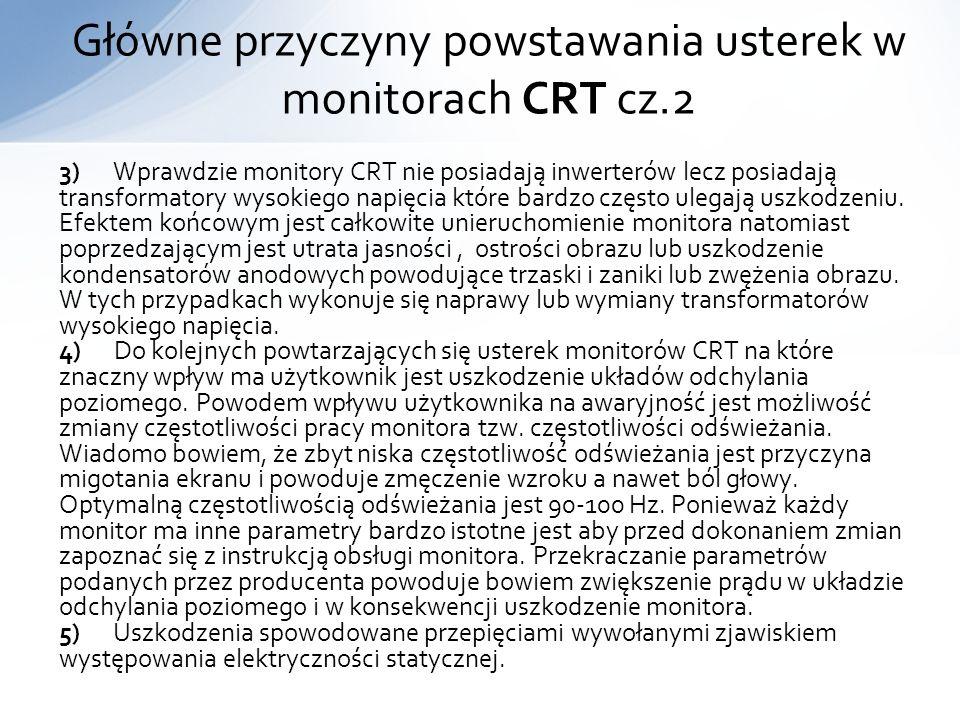 3) Wprawdzie monitory CRT nie posiadają inwerterów lecz posiadają transformatory wysokiego napięcia które bardzo często ulegają uszkodzeniu. Efektem k