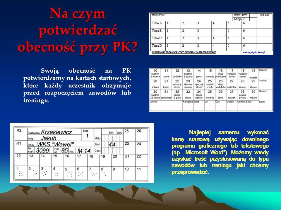 Na czym potwierdzać obecność przy PK? Swoją obecność na PK potwierdzamy na kartach startowych, które każdy uczestnik otrzymuje przed rozpoczęciem zawo
