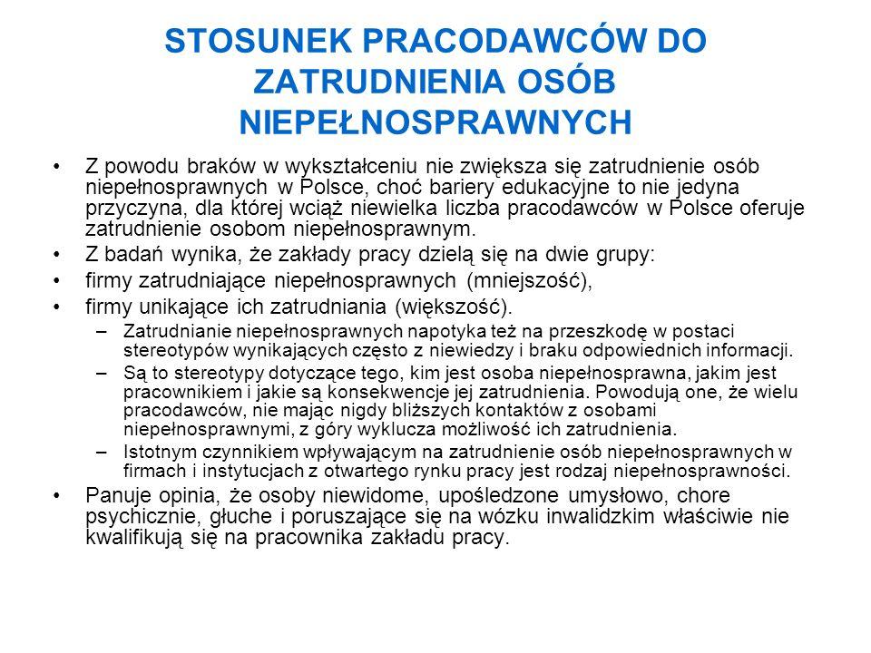 STOSUNEK PRACODAWCÓW DO ZATRUDNIENIA OSÓB NIEPEŁNOSPRAWNYCH Z powodu braków w wykształceniu nie zwiększa się zatrudnienie osób niepełnosprawnych w Pol