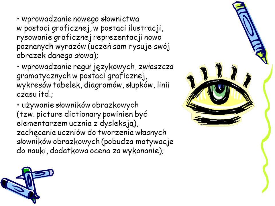 wprowadzanie nowego słownictwa w postaci graficznej, w postaci ilustracji, rysowanie graficznej reprezentacji nowo poznanych wyrazów (uczeń sam rysuje