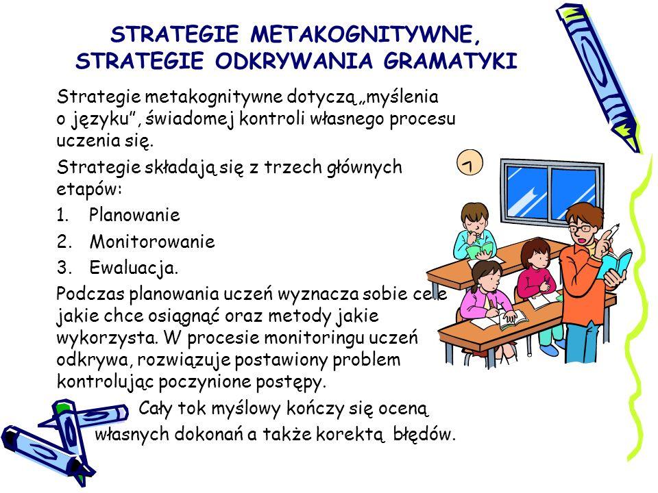 STRATEGIE METAKOGNITYWNE, STRATEGIE ODKRYWANIA GRAMATYKI Strategie metakognitywne dotyczą myślenia o języku, świadomej kontroli własnego procesu uczen