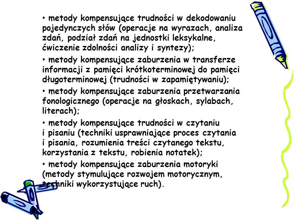 metody kompensujące trudności w dekodowaniu pojedynczych słów (operacje na wyrazach, analiza zdań, podział zdań na jednostki leksykalne, ćwiczenie zdo