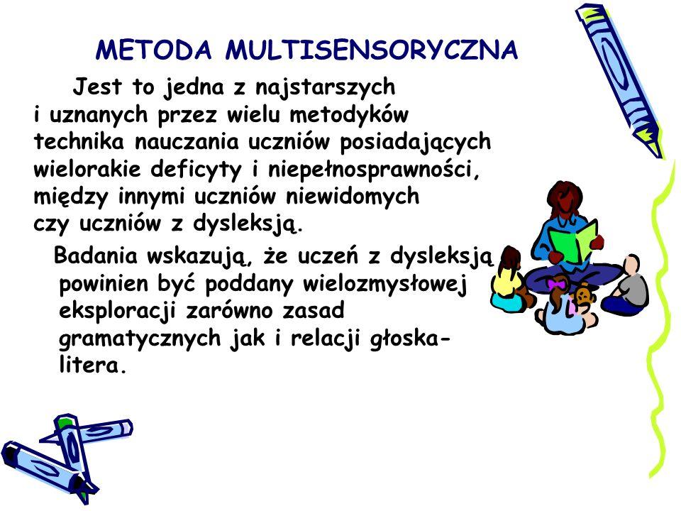 METODA MULTISENSORYCZNA Jest to jedna z najstarszych i uznanych przez wielu metodyków technika nauczania uczniów posiadających wielorakie deficyty i n