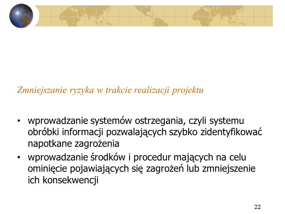 Zmniejszanie ryzyka w trakcie realizacji projektu 22 wprowadzanie systemów ostrzegania, czyli systemu obróbki informacji pozwalających szybko zidentyf