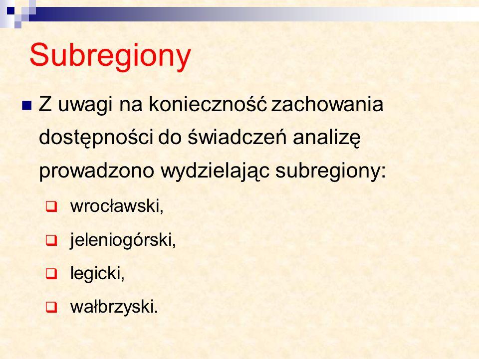 Subregiony Z uwagi na konieczność zachowania dostępności do świadczeń analizę prowadzono wydzielając subregiony: wrocławski, jeleniogórski, legicki, w