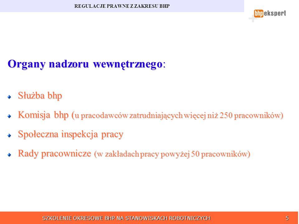 SZKOLENIE OKRESOWE BHP NA STANOWISKACH ROBOTNICZYCH5 REGULACJE PRAWNE Z ZAKRESU BHP Organy nadzoru wewnętrznego: Służba bhp Komisja bhp ( u pracodawcó