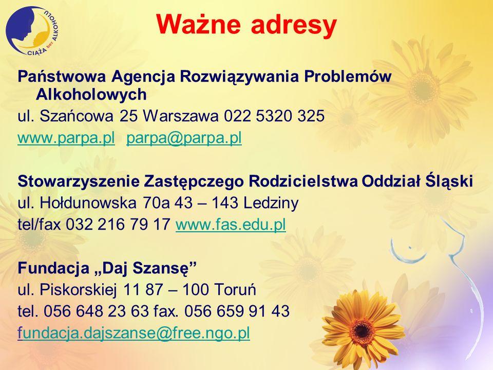 Ważne adresy Państwowa Agencja Rozwiązywania Problemów Alkoholowych ul. Szańcowa 25 Warszawa 022 5320 325 www.parpa.plwww.parpa.pl parpa@parpa.plparpa