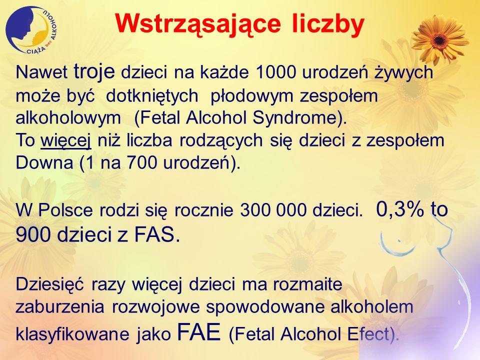 Wstrząsające liczby Nawet troje dzieci na każde 1000 urodzeń żywych może być dotkniętych płodowym zespołem alkoholowym (Fetal Alcohol Syndrome). To wi