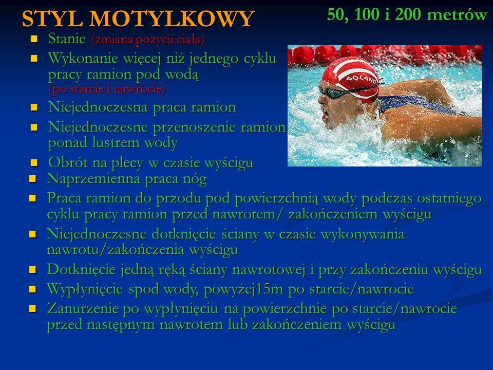 Sędziowie stylu (2)( po każdej stronie pływalni) Powinien zapewnić, ze przestrzegane są przepisy dotyczące stylu pływania i obserwować nawroty pomagając inspektorom nawrotów Powinien zapewnić, ze przestrzegane są przepisy dotyczące stylu pływania i obserwować nawroty pomagając inspektorom nawrotów Kierownik sędziów mierzących czas Przydziela tory sędziom mierzącym czas Przydziela tory sędziom mierzącym czas * Zbiera od sędziów mierzących czas karty o ile to konieczne kontroluje ich czasomierze * Zbiera od sędziów mierzących czas karty o ile to konieczne kontroluje ich czasomierze Bezpośrednio po wyścigu notują wyniki ze swoich czasomierzy na karty, nie kasują wskazań czasomierzy dopóki nie otrzymają sygnału skasować czasomierze ( seria krótkich gwizdków sędzia główny) Bezpośrednio po wyścigu notują wyniki ze swoich czasomierzy na karty, nie kasują wskazań czasomierzy dopóki nie otrzymają sygnału skasować czasomierze ( seria krótkich gwizdków sędzia główny) Sędziowie mierzących czas ( 1 na każdym torze) JEŻELI NIE JEST STOSOWANY AUTOMATYCZNY POMIAR CZASU POWINNO BYĆ WYZNACZONYCH DWÓCH DODATKOWYCH SĘDZIÓW MIERZACYCH CZAS W WYPATKU AWRI CZASOMIERZY