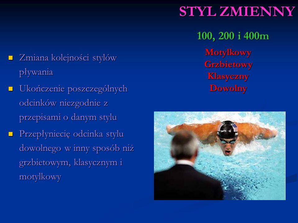 STYL ZMIENNY Zmiana kolejności stylów pływania Zmiana kolejności stylów pływania Ukończenie poszczególnych odcinków niezgodnie z przepisami o danym stylu Ukończenie poszczególnych odcinków niezgodnie z przepisami o danym stylu Przepłyniecię odcinka stylu dowolnego w inny sposób niż grzbietowym, klasycznym i motylkowy Przepłyniecię odcinka stylu dowolnego w inny sposób niż grzbietowym, klasycznym i motylkowy MotylkowyGrzbietowyKlasycznyDowolny 100, 200 i 400m