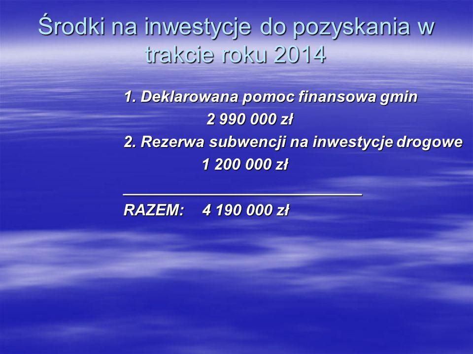 Środki na inwestycje do pozyskania w trakcie roku 2014 1. Deklarowana pomoc finansowa gmin 2 990 000 zł 2 990 000 zł 2. Rezerwa subwencji na inwestycj
