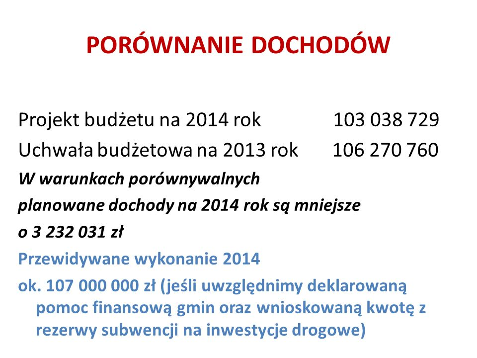 PORÓWNANIE DOCHODÓW Projekt budżetu na 2014 rok 103 038 729 Uchwała budżetowa na 2013 rok 106 270 760 W warunkach porównywalnych planowane dochody na