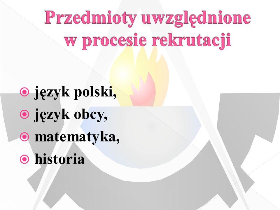 język polski, język obcy, matematyka, historia
