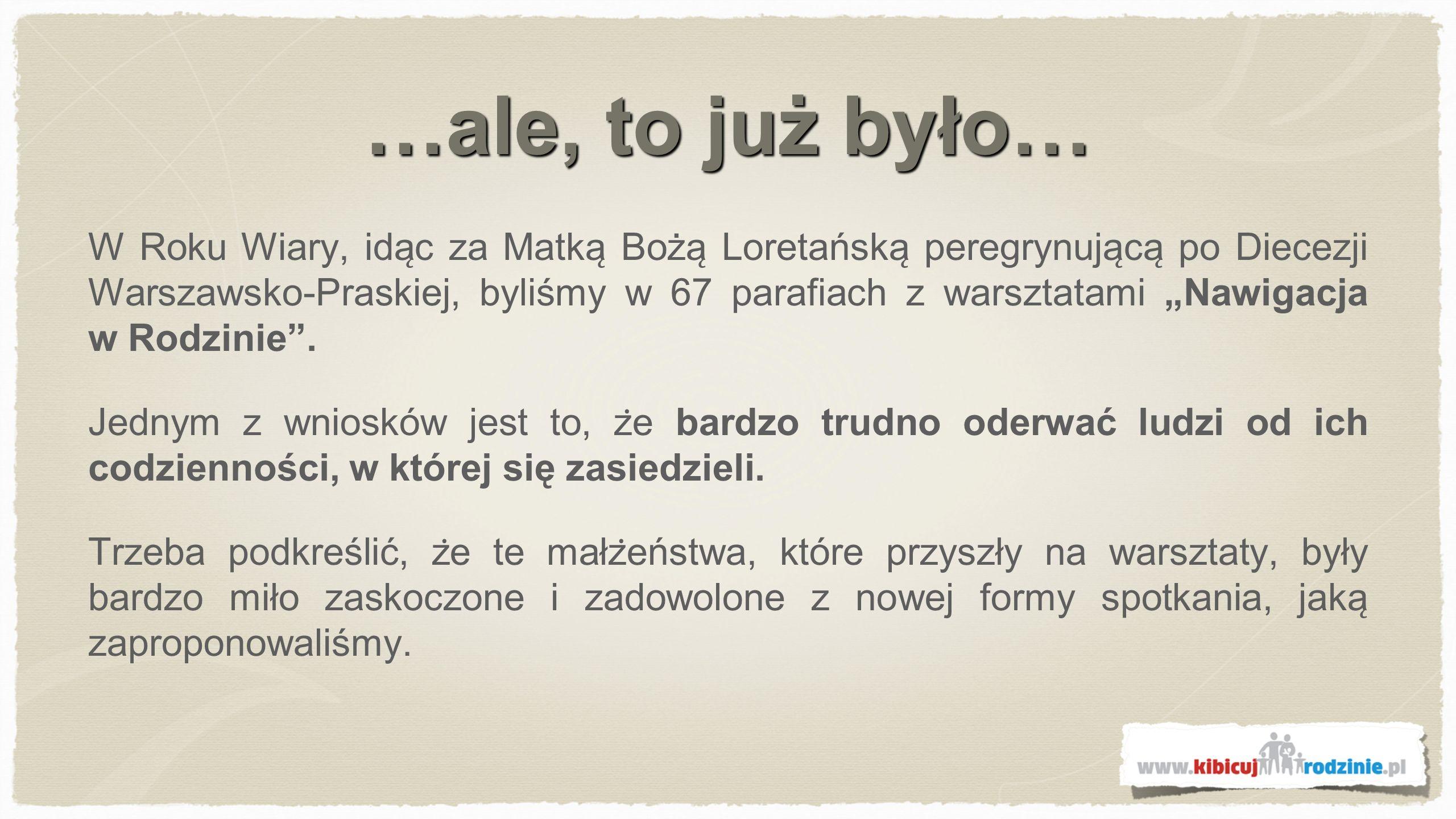 …ale, to już było… W Roku Wiary, ida ̨ c za Matka ̨ Boża ̨ Loretańska ̨ peregrynuja ̨ ca ̨ po Diecezji Warszawsko-Praskiej, byliśmy w 67 parafiach z warsztatami Nawigacja w Rodzinie.