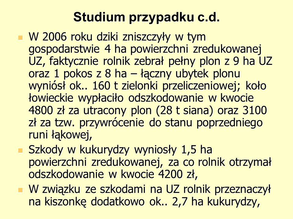 Studium przypadku c.d. W 2006 roku dziki zniszczyły w tym gospodarstwie 4 ha powierzchni zredukowanej UZ, faktycznie rolnik zebrał pełny plon z 9 ha U