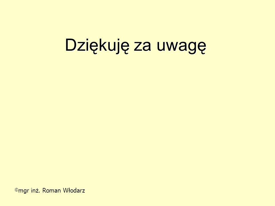 Dziękuję za uwagę © mgr inż. Roman Włodarz