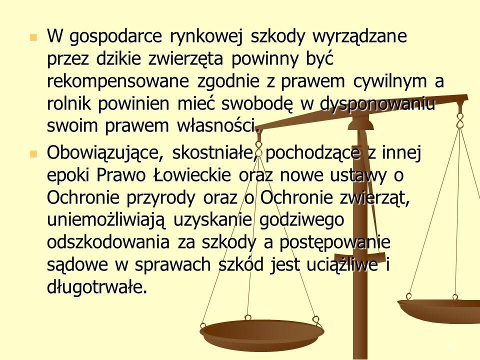 5 W gospodarce rynkowej szkody wyrządzane przez dzikie zwierzęta powinny być rekompensowane zgodnie z prawem cywilnym a rolnik powinien mieć swobodę w