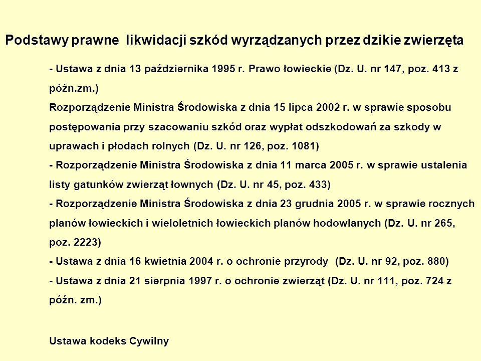 Podstawy prawne likwidacji szkód wyrządzanych przez dzikie zwierzęta - Ustawa z dnia 13 października 1995 r. Prawo łowieckie (Dz. U. nr 147, poz. 413