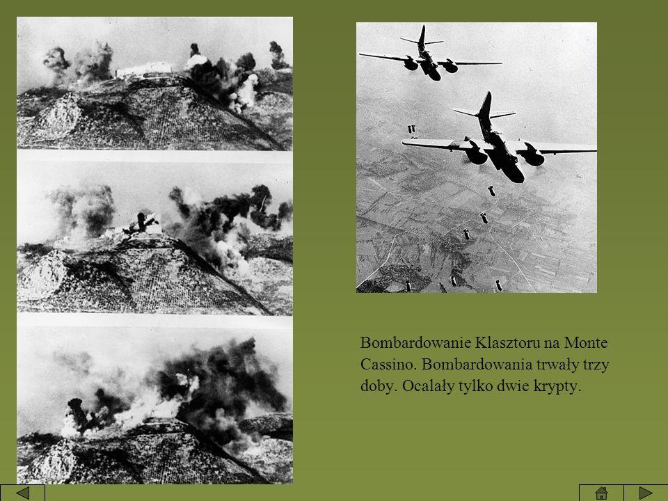 Bombardowanie Klasztoru na Monte Cassino. Bombardowania trwały trzy doby. Ocalały tylko dwie krypty.