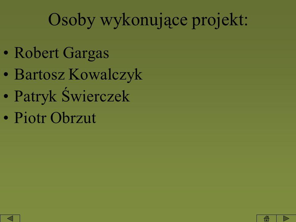 Osoby wykonujące projekt: Robert Gargas Bartosz Kowalczyk Patryk Świerczek Piotr Obrzut