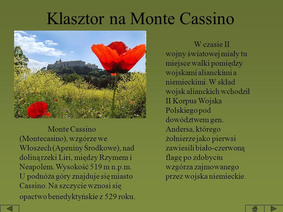 Klasztor na Monte Cassino Monte Cassino (Montecasino), wzgórze we Włoszech (Apeniny Środkowe), nad doliną rzeki Liri, między Rzymem i Neapolem. Wysoko