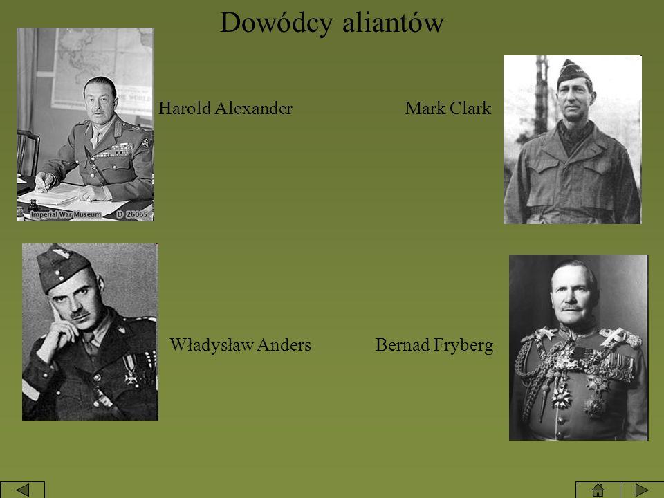 Dowódcy aliantów Harold AlexanderMark Clark Władysław Anders Bernad Fryberg