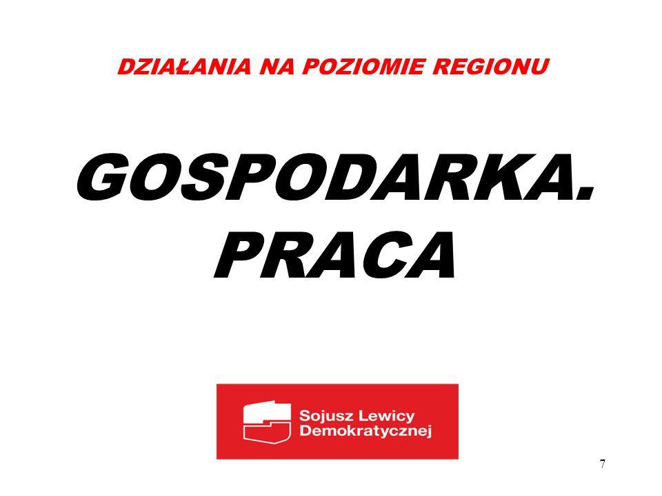 DZIAŁANIA NA POZIOMIE REGIONU GOSPODARKA. PRACA 7
