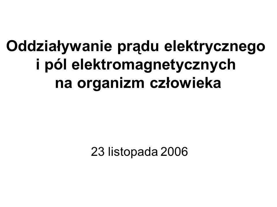 Oddziaływanie prądu elektrycznego i pól elektromagnetycznych na organizm człowieka 23 listopada 2006