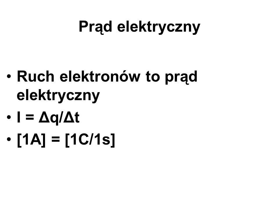 Prąd elektryczny Ruch elektronów to prąd elektryczny I = Δq/Δt [1A] = [1C/1s]