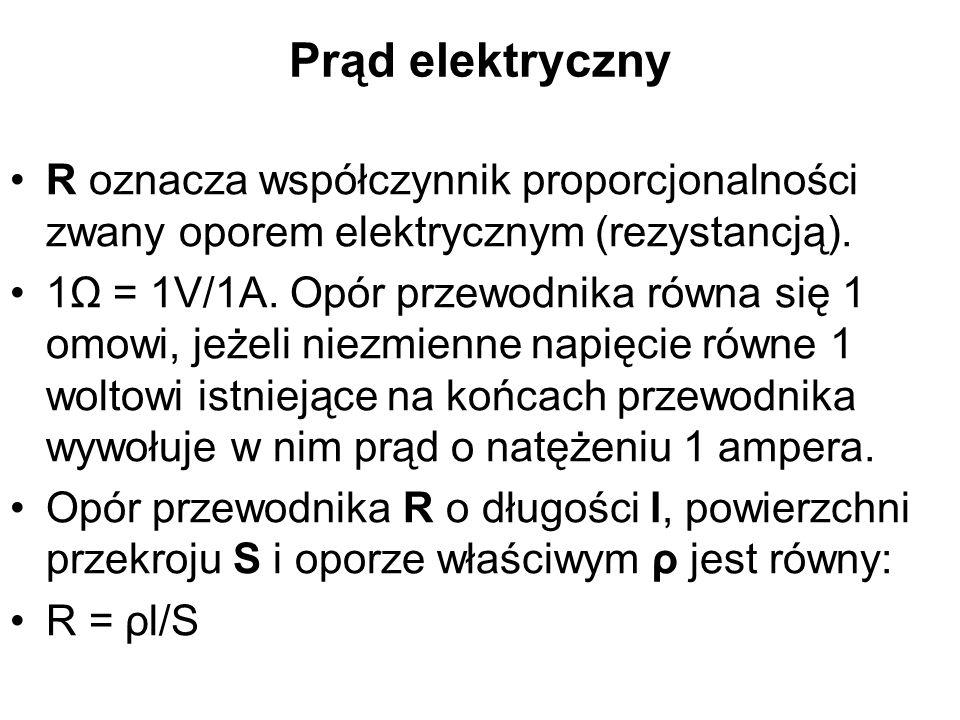 Prąd elektryczny R oznacza współczynnik proporcjonalności zwany oporem elektrycznym (rezystancją).