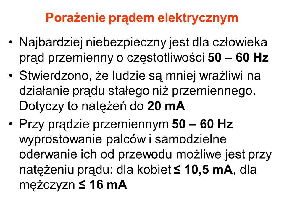 Porażenie prądem elektrycznym Najbardziej niebezpieczny jest dla człowieka prąd przemienny o częstotliwości 50 – 60 Hz Stwierdzono, że ludzie są mniej wrażliwi na działanie prądu stałego niż przemiennego.