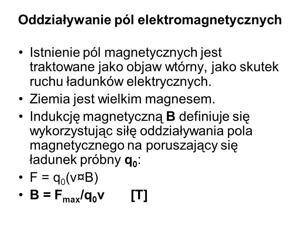 Oddziaływanie pól elektromagnetycznych Istnienie pól magnetycznych jest traktowane jako objaw wtórny, jako skutek ruchu ładunków elektrycznych.