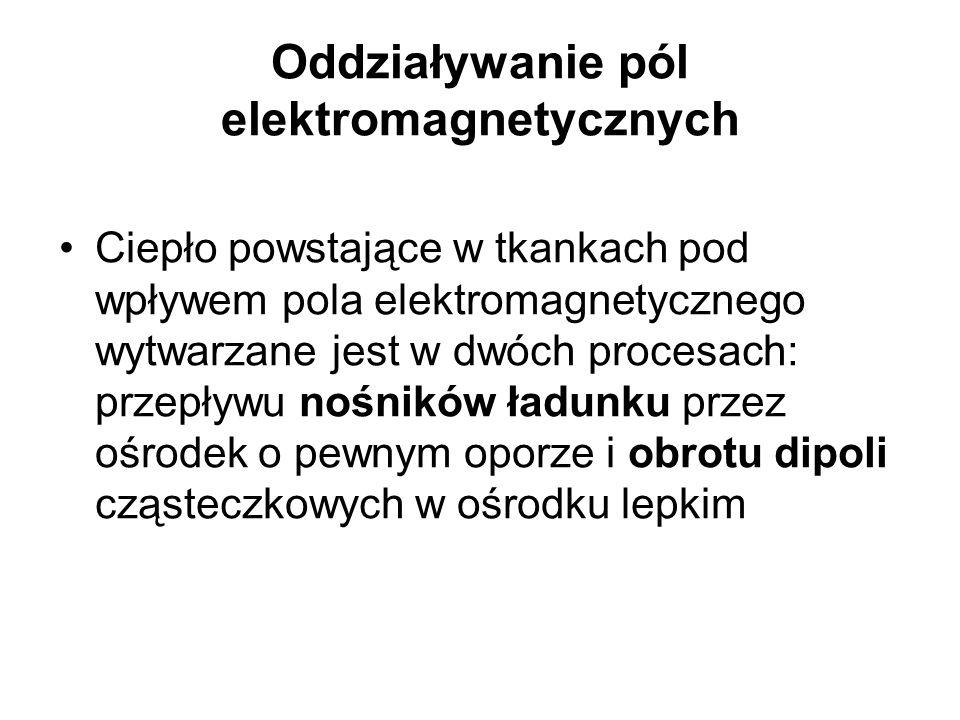 Oddziaływanie pól elektromagnetycznych Ciepło powstające w tkankach pod wpływem pola elektromagnetycznego wytwarzane jest w dwóch procesach: przepływu nośników ładunku przez ośrodek o pewnym oporze i obrotu dipoli cząsteczkowych w ośrodku lepkim