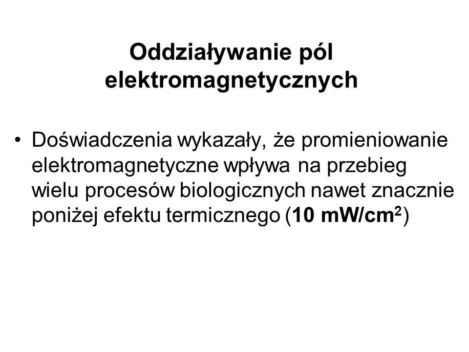 Oddziaływanie pól elektromagnetycznych Doświadczenia wykazały, że promieniowanie elektromagnetyczne wpływa na przebieg wielu procesów biologicznych nawet znacznie poniżej efektu termicznego (10 mW/cm 2 )