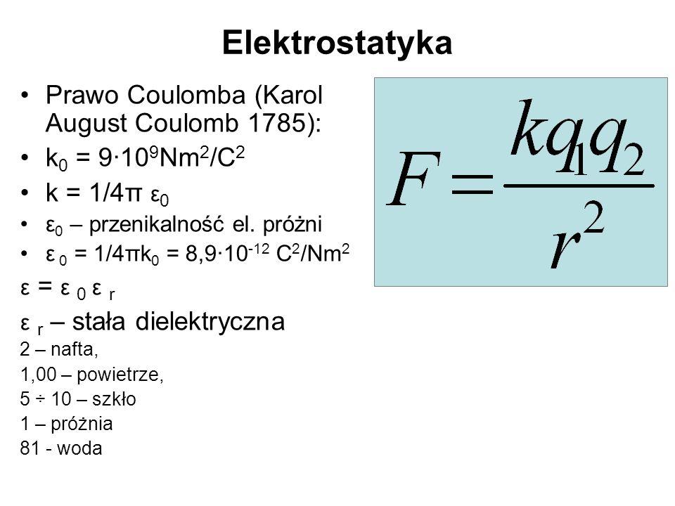 Elektrostatyka Prawo Coulomba (Karol August Coulomb 1785): k 0 = 9·10 9 Nm 2 /C 2 k = 1/4π ε 0 ε 0 – przenikalność el.