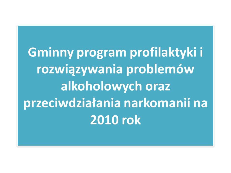 Gminny program profilaktyki i rozwiązywania problemów alkoholowych oraz przeciwdziałania narkomanii na 2010 rok